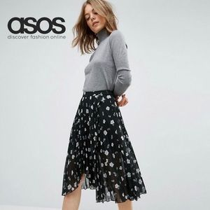 ASOS Black Pleated Floral Midi Skirt w/Wrap Front
